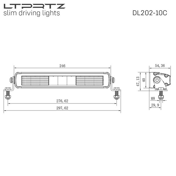 Lightpartz DL202 10 LED Driving Light Combo Lightbar ECE